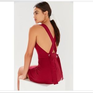 UO Lynn Linen Apron Cross-Back Dress in Wine Red